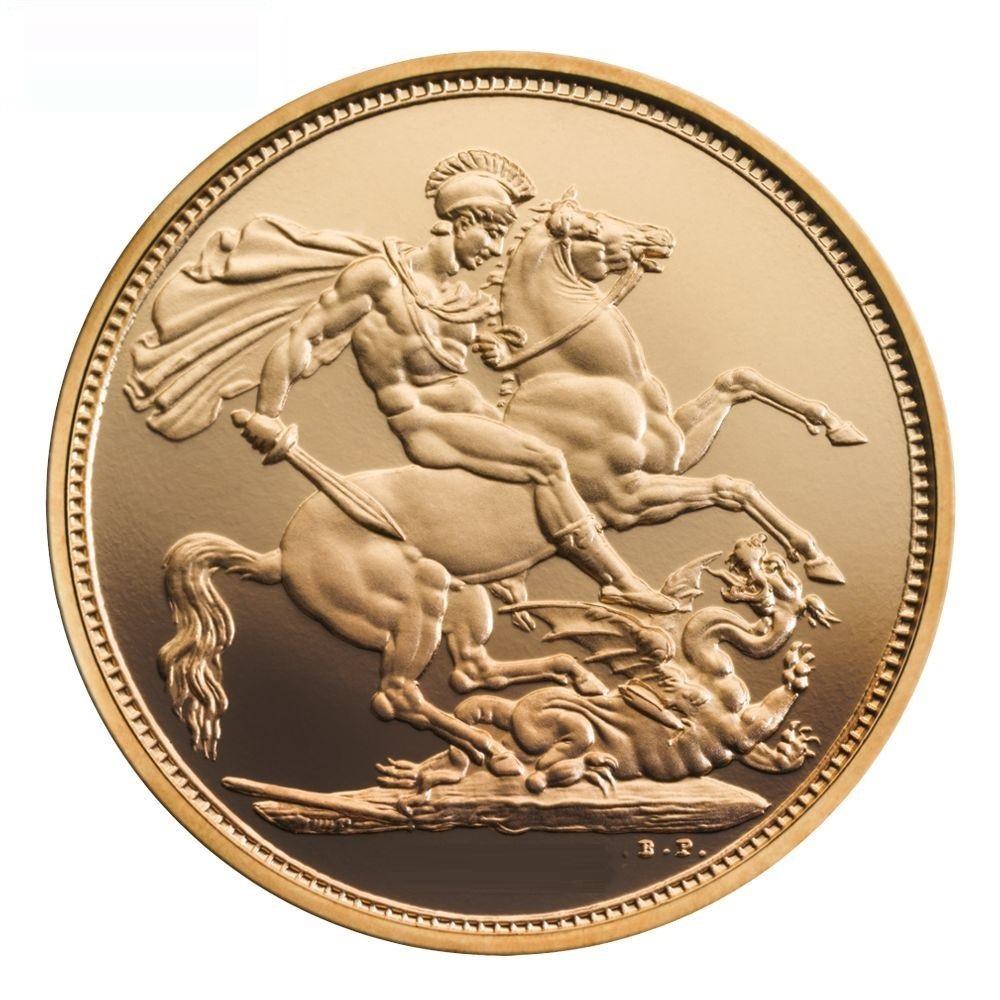 Sterlina oro 2017 200 anni di conio celebrati con un piccolo scudo sul lato rovescio - Sterlina oro 2017 fondo specchio ...